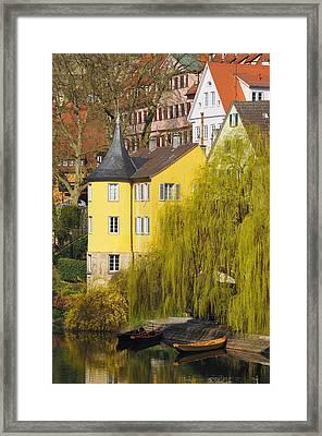Beautiful Yellow Hoelderlin Tower In Tuebingen Framed Print