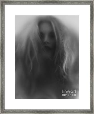 Beautiful Young Woman Face Behind Hazy Glass Framed Print by Oleksiy Maksymenko