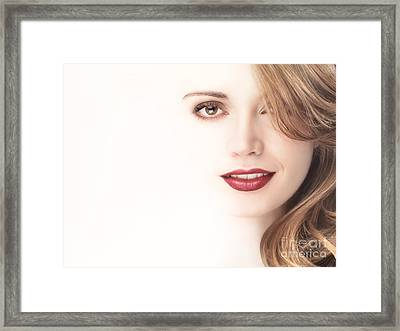 Beautiful Young Woman Face Blending Into Light Background Framed Print by Oleksiy Maksymenko