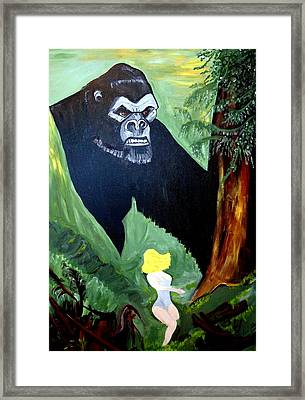 Framed Print featuring the painting Beauty And The Beast by Nora Shepley