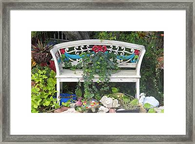 Framed Print featuring the photograph Beauty And The Bench by Ella Kaye Dickey