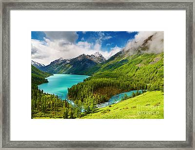 Beauty Mointain And Lake Framed Print by Boon Mee