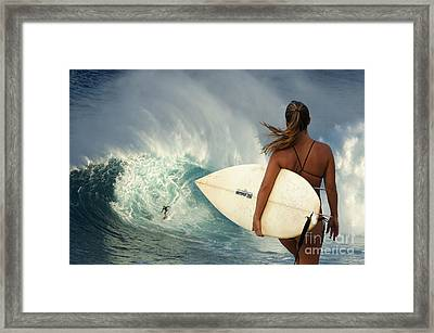 Surfer Girl Meets Jaws Framed Print by Bob Christopher