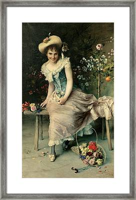 Beauty On A Garden Bench Framed Print by Francesco Vinea
