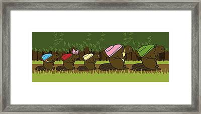 Beaver Family Walk Framed Print