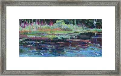 Framed Print featuring the painting Beaver Pond by Linda Novick