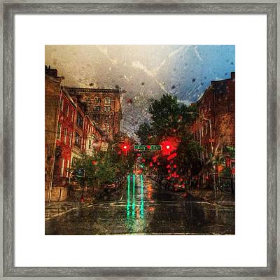 Because Of The Rain Framed Print