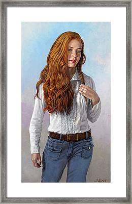 Becca In Blouse And Jeans Framed Print by Paul Krapf