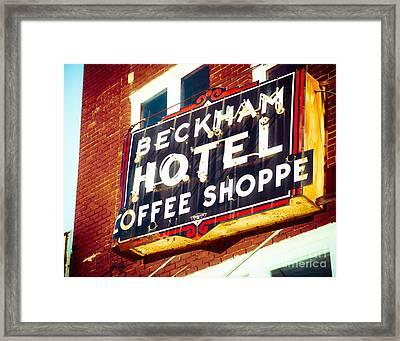 Beckham Hotel Sign Framed Print by Sonja Quintero