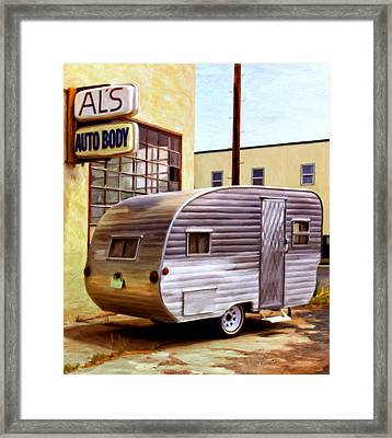 Becky's Vintage Travel Trailer Framed Print by Michael Pickett