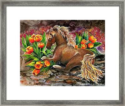 Bed Of Tulips Framed Print by Sherry Shipley