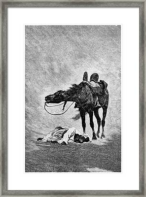 Bedouin And Horse In A Sandstorm Framed Print by Science Photo Library