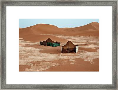 Bedouin Tents And Sand Dunes Framed Print