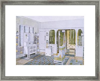 Bedroom Designed By Will Bradley Framed Print by .