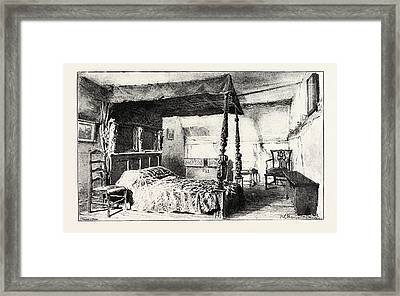 Bedroom In Anne Hathaways Cottage At Shottery Framed Print