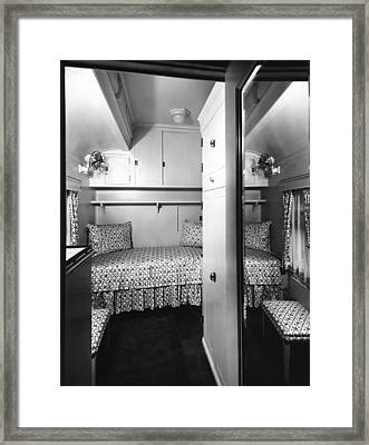 Bedroom On The Royal Train Framed Print by Underwood Archives