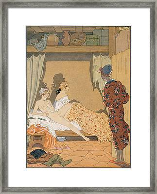 Bedroom Scene Framed Print by Georges Barbier