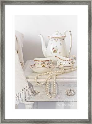Bedside Table For Tea Framed Print by Amanda Elwell