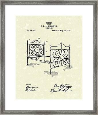 Bedstead 1895 Patent Art Framed Print by Prior Art Design