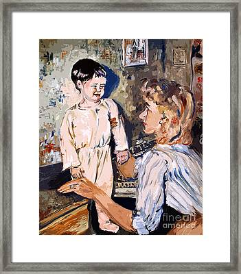 Bedtime Ginette Self Portrait As Child Framed Print by Ginette Callaway