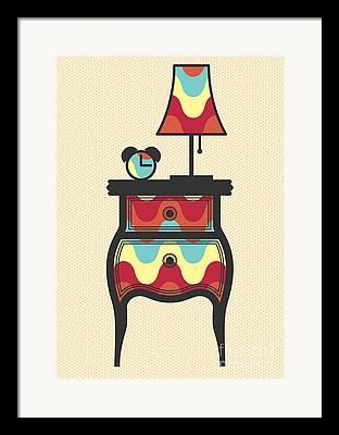 Night Lamp Drawings Framed Prints