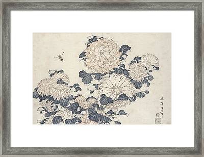Bee And Chrysanthemums Framed Print by Katsushika Hokusai