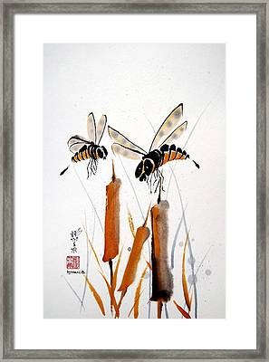 Framed Print featuring the painting Bee-ing Present by Bill Searle