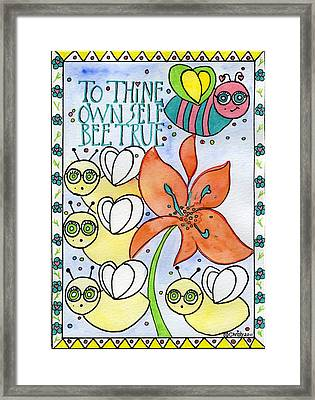 Bee True Framed Print by Christy Woodland