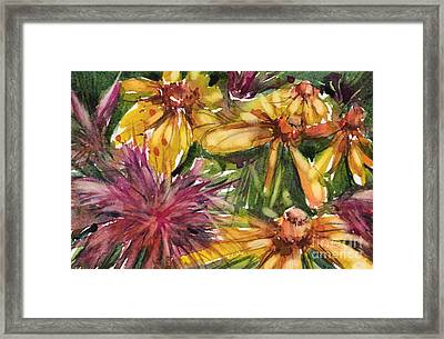 Beebalm And Heliopsis Framed Print