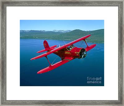 Beechcraft Model 17 Staggerwing Flying Framed Print by Phil Wallick