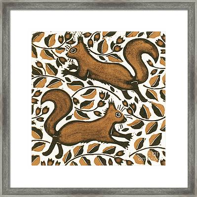 Beechnut Squirrels Framed Print by Nat Morley