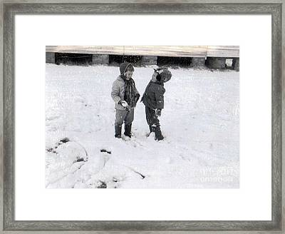 Beelily And Brother In The Snow Framed Print by Deborah Montana