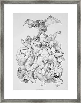 Beelzebub Expels The Fallen Angels Framed Print by Richard Edmond Flatters
