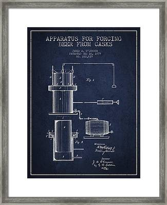 Beer Apparatus Patent Drawing From 1879 - Navy Blue Framed Print