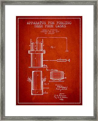 Beer Apparatus Patent Drawing From 1879 - Red Framed Print