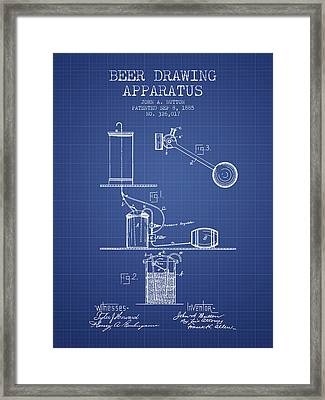 Beer Apparatus Patent From 1885 - Blueprint Framed Print