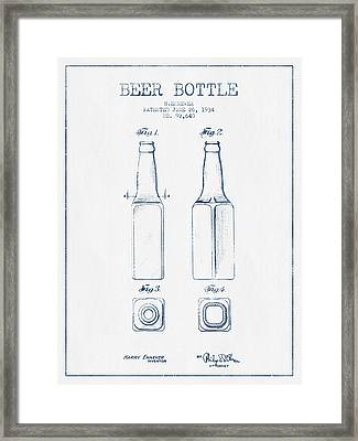 Beer Bottle Patent From 1934 -  Blue Ink Framed Print by Aged Pixel
