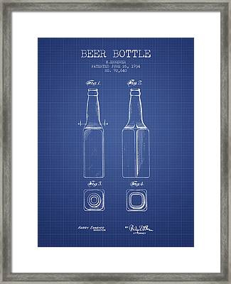Beer Bottle Patent From 1934 - Blueprint Framed Print by Aged Pixel