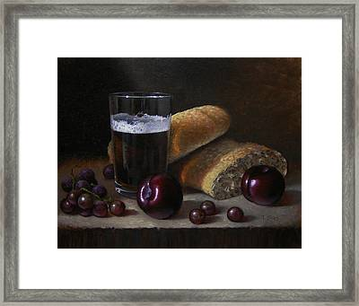 Beer Bread And Fruit Framed Print