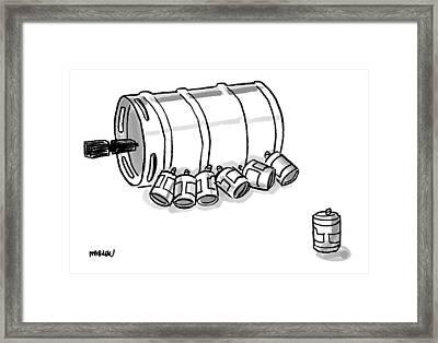 Beer Cans Nursing At A Keg Framed Print
