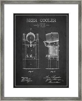 Beer Cooler Patent Drawing From 1876 - Dark Framed Print by Aged Pixel