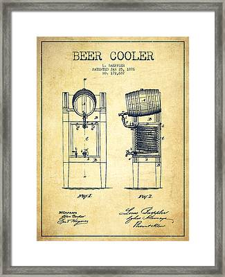 Beer Cooler Patent Drawing From 1876 - Vintage Framed Print