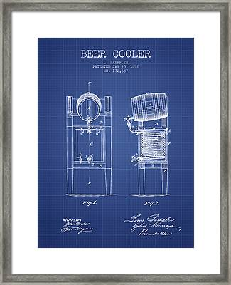 Beer Cooler  Patent From 1876 - Blueprint Framed Print by Aged Pixel