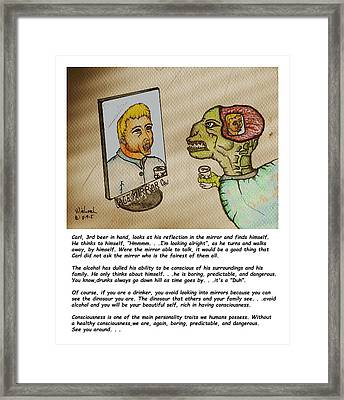 Beer Drinker In The Mirror Framed Print
