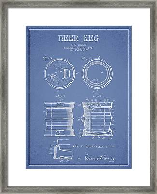 Beer Keg Patent Drawing From 1937 - Light Blue Framed Print by Aged Pixel