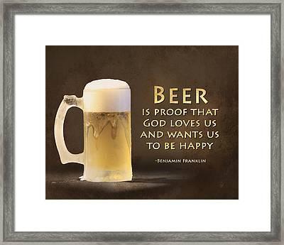 Beer Framed Print by Lori Deiter