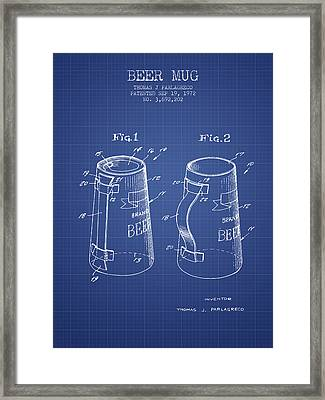 Beer Mug Patent 1972 - Blueprint Framed Print by Aged Pixel