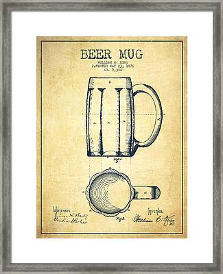 Beer Mug Patent Drawing From 1876 - Vintage Framed Print by Aged Pixel
