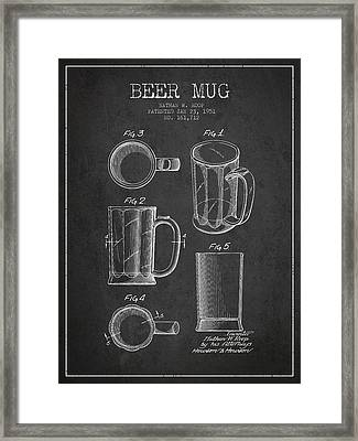 Beer Mug Patent Drawing From 1951 - Dark Framed Print by Aged Pixel