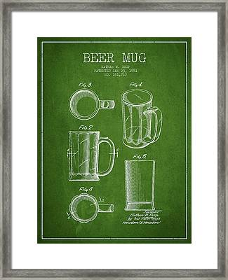 Beer Mug Patent Drawing From 1951 - Green Framed Print by Aged Pixel